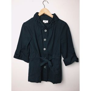 LOFT Navy Blue Button Utility Trench Jacket